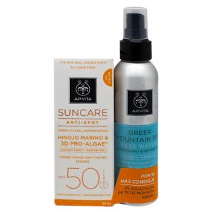Apivita Crema Solar Facial Antimanchas Color SPF50 50ml + Agua Facial de Té de Montaña Negro 100ml
