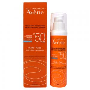 Avene Solar Fluido Toque Seco SPF50+ Piel Sensible, Normal y Mixta Sin Perfume Oil-free 50ml