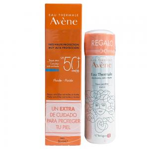 Pack Avene Solar Fluido Toque Seco SPF50+ Piel Sensible, Normal y Mixta 50ml + Agua Termal 50ml de Regalo