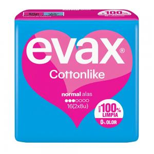 Compresas Evax Cottonlike Normal Alas 16 Unidades