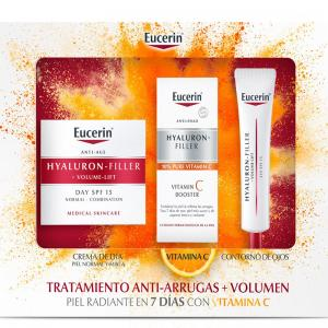 Eucerin Cofre Hyaluron Filler Volume Lift Piel Normal Mixta 50ml + Vitamina C 1 ampolla + Contorno de Ojos