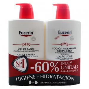 Pack Eucerin pH5 Gel de Baño 1000ml + Loción Hidratante Ultraligera 1000ml
