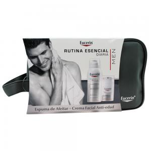 Eucerin Men Espuma de Afeitar 150ml + Crema Facial Anti-edad 50ml + Neceser