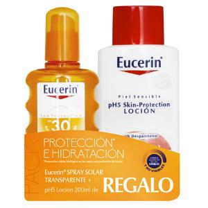 Eucerin Pack spray solar transparente SPF30 200ml + Eucerin loción hidratante 200ml
