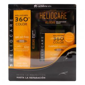 Pack Heliocare 360 Color Bronze Intense Gel Oil Free SPF50 50ml + Cushion Compact 15gr