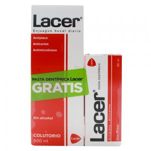 Lacer Enjuague Bucal 500ml + Pasta Dentífrica 35ml de Regalo