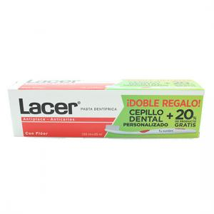 Lacer Pasta Dentrifica 125 ml + Doble Regalo Cepillo Dental Personalizable + 25 ml Pasta gratis