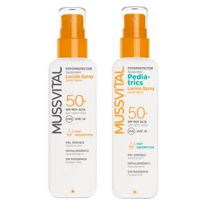 Pack Familiar Mussvital Spray Adulto SPF50 200ml + Pediatrics SPF50 200ml