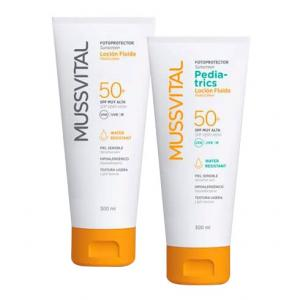 Pack Familiar Mussvital Loción Fluida Adulto SPF50 300ml + Pediatrics SPF50 300ml