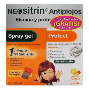 Pack Neositrín Antipiojos Spray Gel 60ml + Spray Protector 100ml Gratis + Lendrera