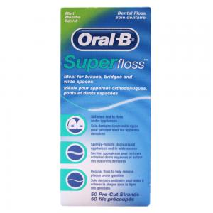 Oral B Super Floss Seda Dental Sabor Menta 50 unidades