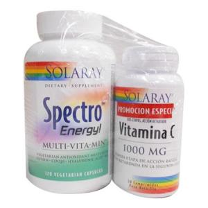 Solaray Pack Spectro Energy Multivitamina 120 càpsulas + Vitamina C 1000mg 30c