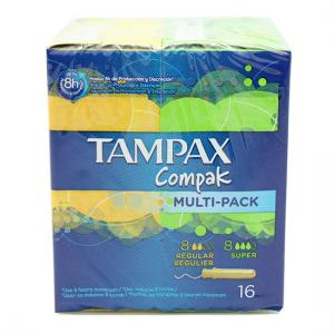 Tampax Compak Multi-Pack 8 Regular + 8 Super
