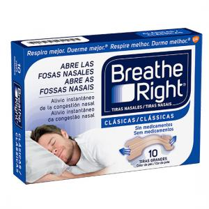 Tiras Nasales Breathe Right Clásicas Talla Grande 10 unidades