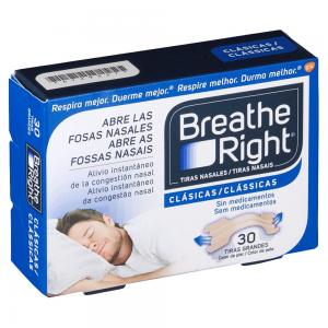 Tiras Nasales Breathe Right Clásicas Talla Grande 30 unidades