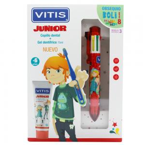 Pack Vitis Junior Cepillo dental + Gel Dentífrico 75ml + Regalo Boli 8 Colores