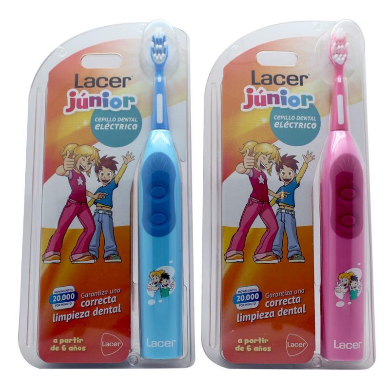 Lacer Junior Cepillo Dental Eléctrico Color Azul y Rosa  7eeaf70874e8